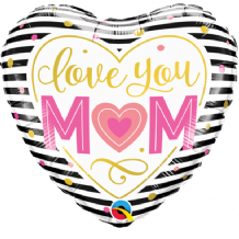 "Love You M(Heart)M Stripes Foil Balloon (9"" Air-Fill) 1pc"